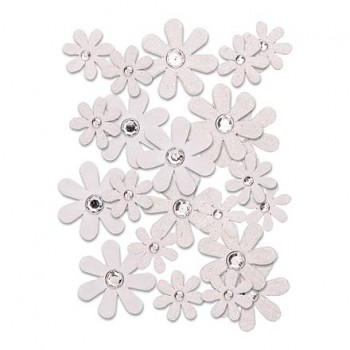 Paper Flowers / 1,5 - 2,5cm / 50pcs / white