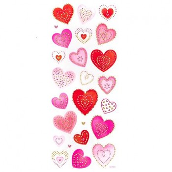 Glitter stickers / Hearts / 25pcs
