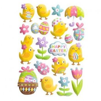 Puffy stickers / Easter chicks / 19pcs