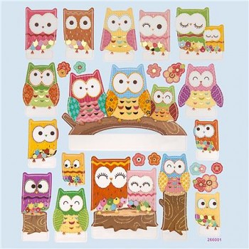 Pop-up stickers / Owls / 25pcs