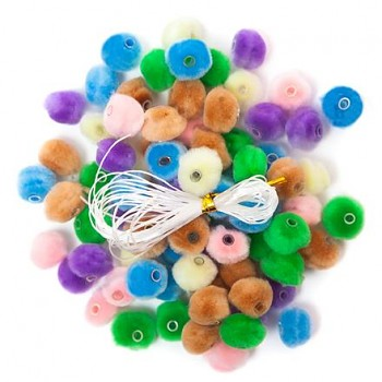 PASTEL ACRYLIC POMPOMS BEADS 1,5 CM, 78 PCS