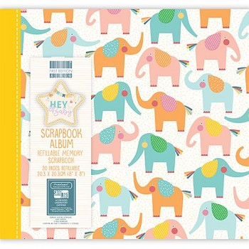"Scrapbook Album 8x8"" - Hey Baby - Elephants"