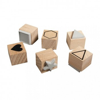 Set of wooden stamps Basic, 2.2-3.7cm ø, 6pcs