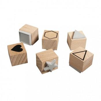 Drevené razítka / Basic / 2,2-3,7cm / 6ks