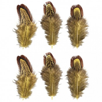 Feathers, 5-10cm, 6pcs, yellow/brown