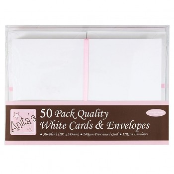 A6 Cards/Envelopes (50pk) - White