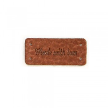 "Leather label ""Made with love"" / 1pc"