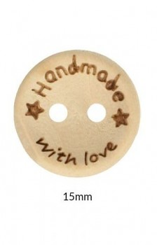 "Wooden button ""Handmade with love"" 15mm / 1pc"