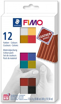 Fimo Effect set of 12 colours 25g LEATHER
