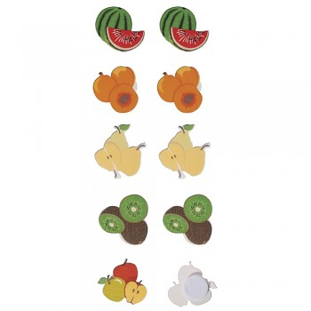 Small wooden objects Fruits, 2cm ø, with adhesive dot, 10pcs