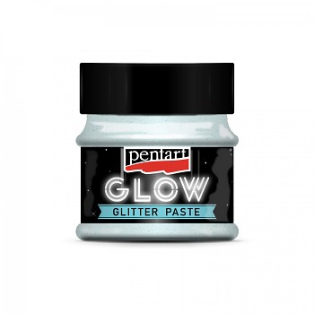 Glitter paste GLOW in the dark / 50ml / silver blue