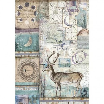 Rice decoupage paper A4 / Cosmos deer