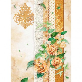 Rice decoupage paper A4 / Flowers for you ocher
