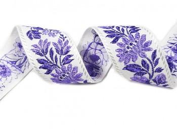 Stuha krojová 36mm / 1m / biela - fialový kvet