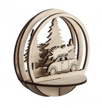 Wooden plugs Car+Tree 9,5cm