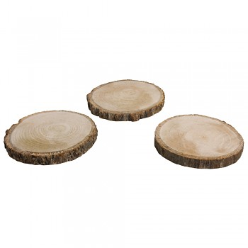 Log disc, round, nature, 10-12cm, bundle 3pcs