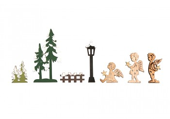 Small wood.objects Angel garden, 2-sided, 1.8-3.3 x 1.2-6.4cm, 7pcs