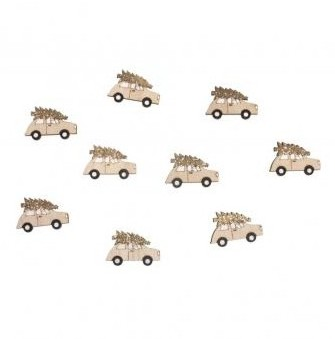 Small wood.objects Car, partly glittered, 4x2,5cm, with adh.dot, 9pcs, natural