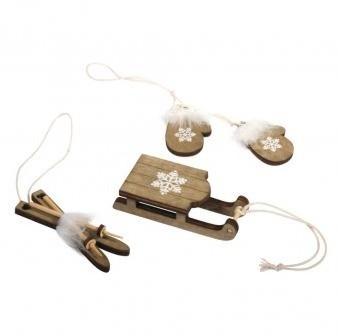 Dřevěné dekorace Winter accessories / 2-3.2 x 3.5-7.5cm / 4ks