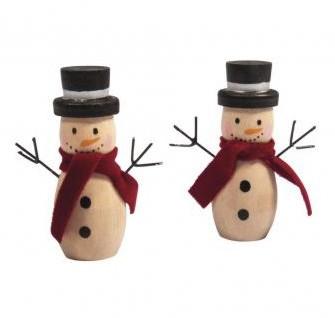 Wooden Snowman, 5.8cm, 2pcs