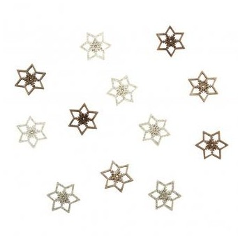 Small wood.objects Snowflakes 2,5cm / 12pcs