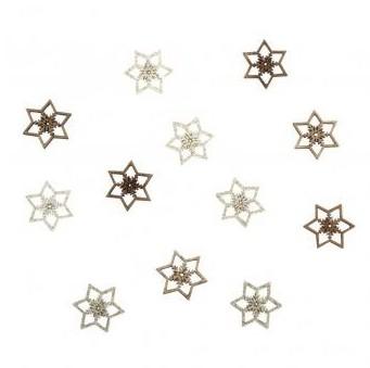 Drevené výrezy - Snowflakes, 2.5cm / 12ks
