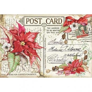 Ryžový papier na decoupage 48x33cm / Poinsettia