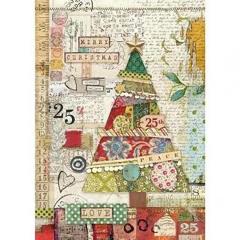 Ryžový papier A4 / Patchwork tree