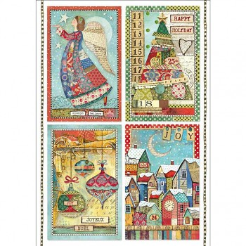 Reispapier A4 / Patchwork postcards