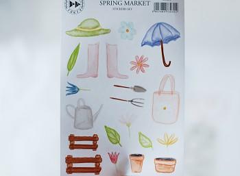 Papierové samolepky - Spring market