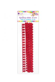 Quillingové prúžky Peony / červené / 1,8 cm / 12ks