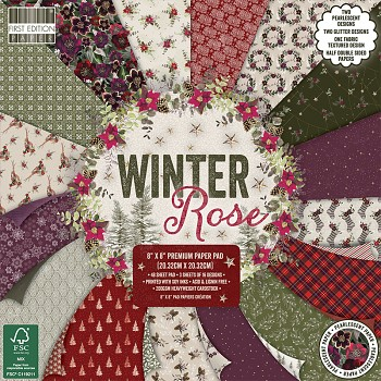 "Winter Rose 8x8"" Paper Pack / 48pcs"