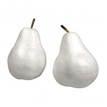Styrofoam pear with stalk, 7x7x9cm+7x7x10cm / 2szt