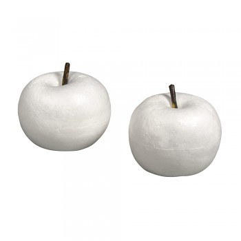 Styrofoam apple with stalk, 7x7x6cm+8x8x7cm / 2szt