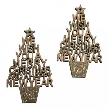 """Drevené výrezy - stromčeky """"Merry Christmas"""" 5x8,6cm / 2ks"""