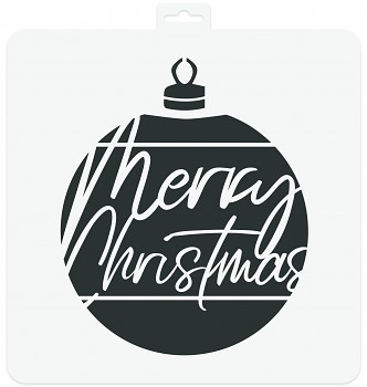 Stencil 28x28cm / Merry Christmas Bauble
