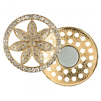 Decorative brooch megnetic flower 45mm - gold