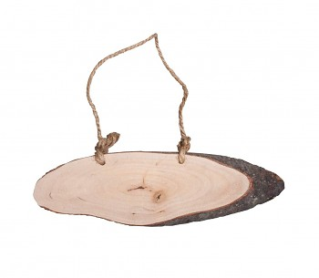 Wooden disc to hang up, oval, 20x6x1cm, with jute cord, natural