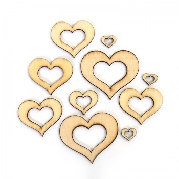 Wooden Hearts / 10pcs