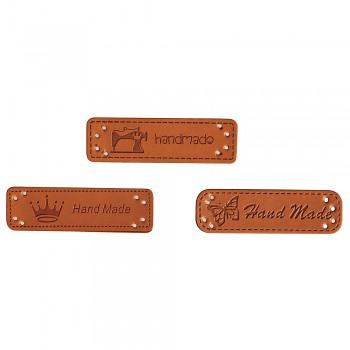Handmade štítky zo syntetickej kože / 4,9x1,5cm / 3ks