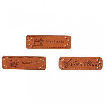 Handmade štítky ze syntetické kůže / 4,9x1,5cm / 3ks
