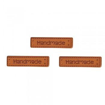 Handmade štítky ze syntetické kůže / 4x1cm / 3ks