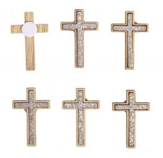 Small wooden objects Cross, 2.5x4cm, w. adh. dot, 12pcs, silver