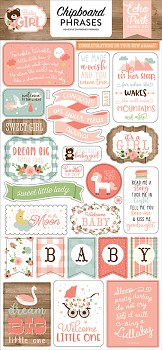 Baby Girl Chipboard Phrases / 6x13""