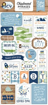Baby Boy Chipboard Phrases / 6x13""