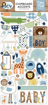 Baby Boy Chipboard Accents / 6x13""