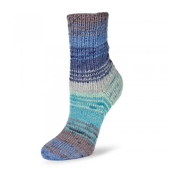 Flotte Socke 4f. Bambus-Merino Emotion / 100g / 1542 - modro-šedo-sv.modro-tyrkysové