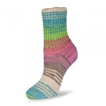 Flotte Socke 4f. Bambus-Merino Emotion / 100g / 1544 - tyrkysovo-hnedo-ružovo-zelené