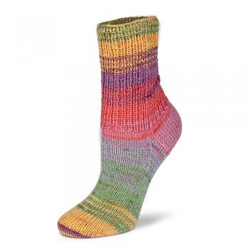 Flotte Socke 4f. Bambus-Merino Emotion / 100g / 1540 - oranžovo-béžovo-modro-červené