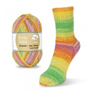 Flotte Socke 4f. Stretch Tutti Frutti (bavlna+vlna) / 100g / 1411 - žlto-zeleno-oranžovo-ružové